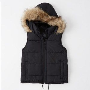 Abercrombie & Fitch Black Puffer Vest - Small